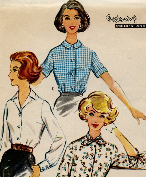 Vintage McCalls Sewing Pattern 5079 - 1950s Blouse Pattern in 3 Views - Complete and Uncut