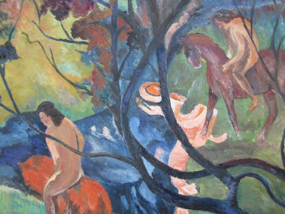 Large Framed Vintage Painting in the Style of Paul Gauguin -The White Horse - Figures on Horses in Tahitian Jungle - Colorful - Primitive