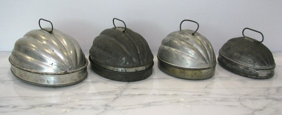 Set of Four Antique Primitive Tin Melon Molds Pudding Nesting Molds Total of 8 pieces Instant Collection