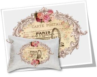 Digital Collage Sheet Download - Paris Carte Postale Image Transfer -  359  - Digital Paper - Instant Download Printables