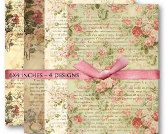 Digital Collage Sheet Download - Floral French Ephemera -  454  - Digital Paper - Instant Download Printables