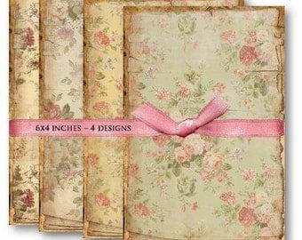 Digital Images - Digital Collage Sheet Download - Vintage Floral Backgrounds -  455  - Digital Paper - Instant Download Printables