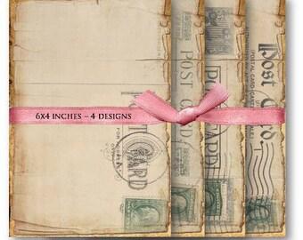 Digital Images - Digital Collage Sheet Download - Vintage Postcards -  456  - Digital Paper - Instant Download Printables