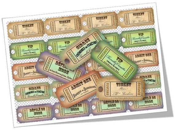 Vintage French Tickets Digital Collage Sheet Tickets Digital Download For Magnets Pendants Scrapbooking Supplies Cards Set 273