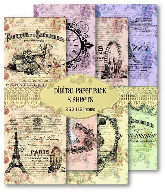Digital Scrapbook Paper Pack Vintage French Paris Eiffel Tower Scrapbooking Supplies Set 368