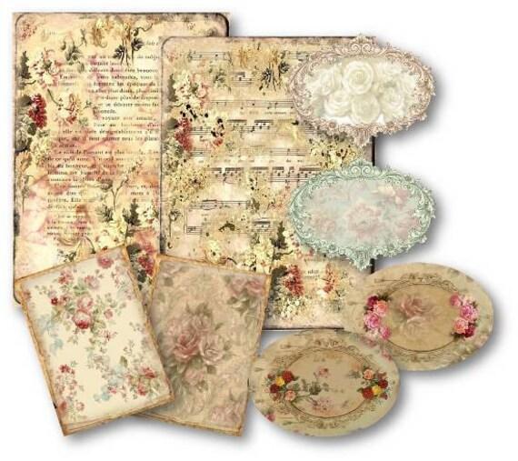SPECIAL KIT Vintage Floral Scrapbooking Kit Digital Collage