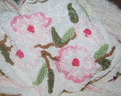 Vintage Chenille Bedspread Cabin Crafts Dogwood Pattern Skirted Twin, Use or Cut