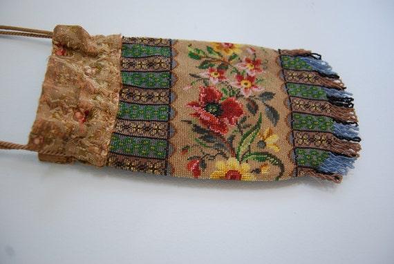SALE Victorian Beaded Floral Drawstring Bag
