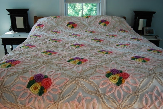 SALE Golden Garden Vintage Chenille Bedspread
