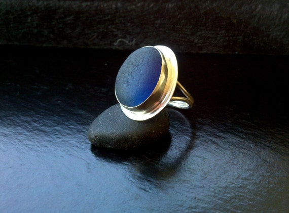 SALE SALE----- Sea Glass Ring Big cobalt blue in Sterling and Fine silver 25% OFF with coupon code