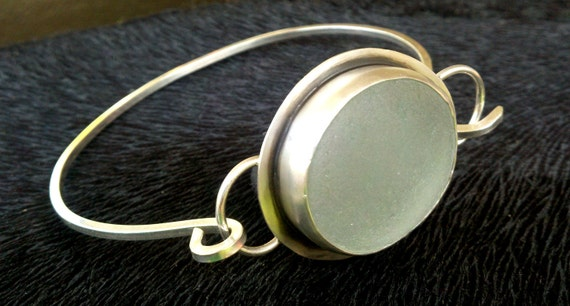 "SALE-SALE----Sea Glass Bracelet Perfect Round Sea Foam Sterling Silver, Fine Silver.----25% off with code ""25off"""