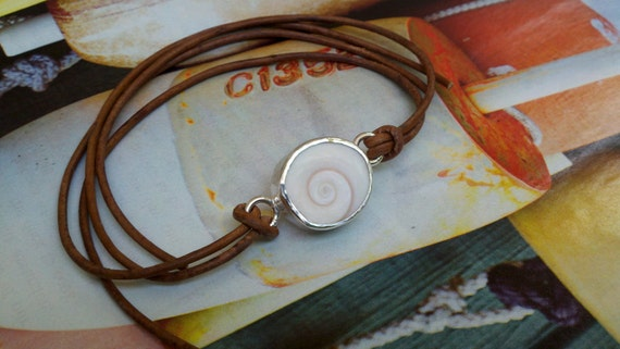 Sea Shell Bracelet Sterling Silver Fine Silver Natural leather cord Brown Florida