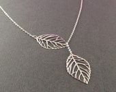 Leaf Sterling Silver Lariat Necklace--simple everyday jewelry-Romantic,Wife, Girlfriend, Mothers Gift Idea