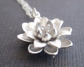 Flower Sterling Silver Necklace-simple everyday jewelry- Bridesmaid,Wife, Girlfriend, Mothers Gift Idea