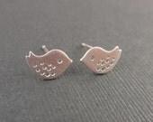 Tiny Little Bird White Gold Earring-Sterling silver post-cute,lovely gift idea
