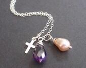 Amethyst sterling silver Necklace-sterling silver cross Pandant