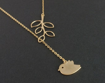 Little Bird Sparrow and Leaf Branch 14K gold filled Lariat Necklace-Gift Idea