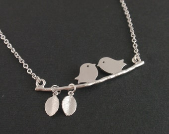 Two Birds Love Sterling Silver Necklace -simple everyday jewelry-simple Wife, Girlfriend Birthday Gift Idea