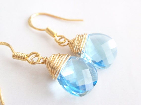 Aquamarine Briolette Pendant 14k Gold Filled Earring-simple everyday jewelry- Bridesmaid,Wife, Girlfriend, Mothers Gift Idea
