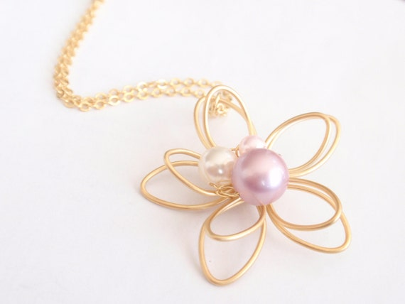 Wire Double Flower Pearl 14k Gold Filled Necklace - simple everyday jewelry - Bridesmaid, Wife, Girlfriend, Mother Gift Idea