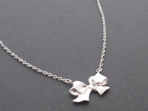 Ribbon Sterling Silver Necklace-simple everyday jewelry- Bridesmaid,Wife, Girlfriend, Mothers Gift Idea