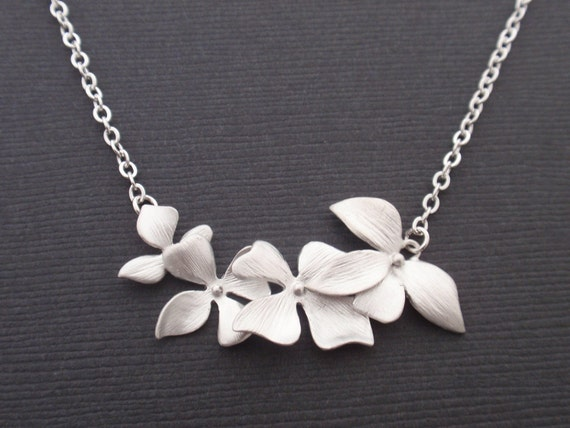 Triple Orchid Flower Sterling silver Necklace-Bridesmaid,Wife, Girlfriend, Mothers Birthday Gift Idea