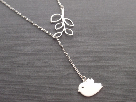 Little Bird Sparrow and Leaf Branch Sterling Silver necklace - simple everyday jewelry - bird necklace