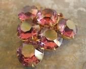 purple glass faux amethyst dress clip brooch