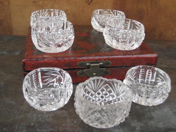 Set of 7 crystal salt cellars