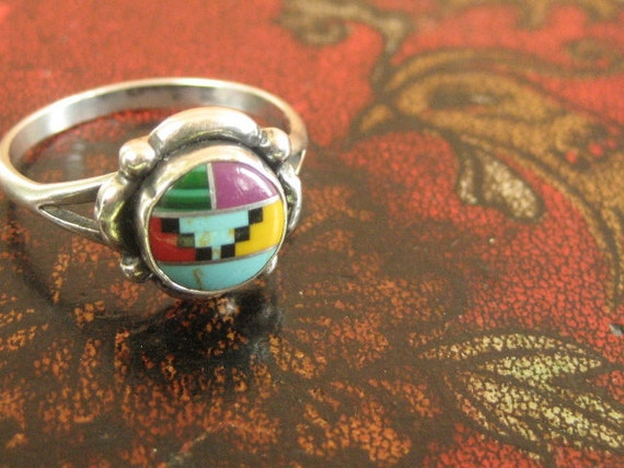 RESERVED for Krisha Patiag zuni sterling silver turquoise ring with onyx agate and silver inlay size 7