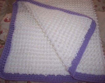 Baby Afghan White trimed in Lilac Crocheted