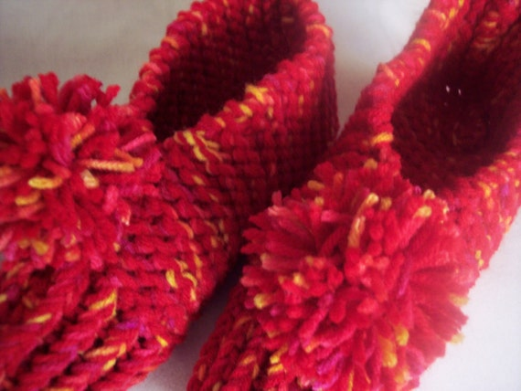 Sale - Slippers Womens Red and Sunshine knitted
