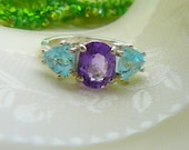 A Beautiful 4.09ct Natural Amethyst & Sky Blue Topaz 925 Sterling Silver Ring Size 6