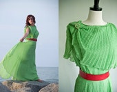Vintage 1960s Apple Green Polka Dot Gown Capelet XL