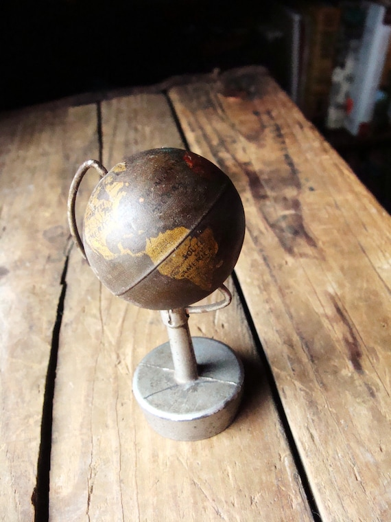 Vintage Pencil Sharpener- Miniature World Globe - Dating Back to 1940's - Natural Rustic Appearance - Made in Germany