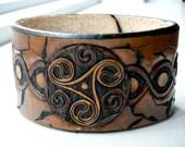 Leather Celtic Swirl Cuff