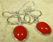 ORANGE CHALCENDONY Silver 925 Pierced Earrings