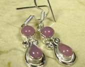 Valentines Gift... PINK CHALCEDONY  925 Silver Pierced Earrings