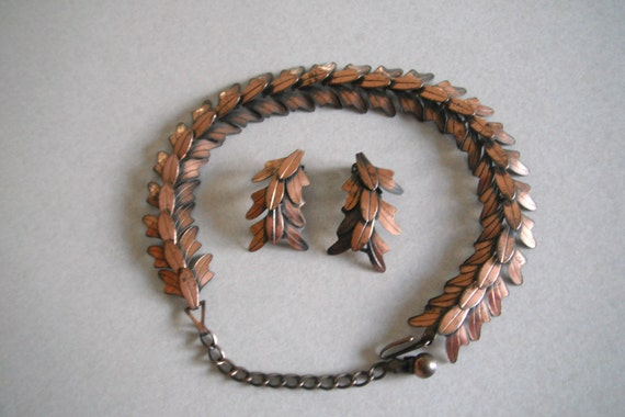 The Master of Copper Art Jewelry, REBAJES necklace & Earrings  Era c.1945.. 10% Discount