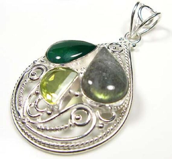 FREE SHIPPING....NewMulti-gem Labrodorite, CITRINE 925 Silver Pendant