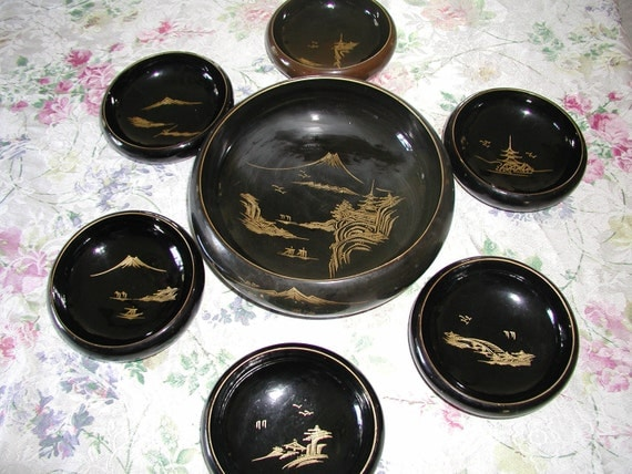 CHRISTMAS SALE Vintage 7 piece AIZU Lacquerware Salad Bowl Set Made in Japan  10% Discount