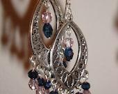 Blue and pink-purple crystal chandelier earrings