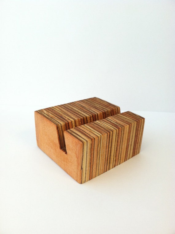 Modern design minimalist wooden display stand or business card holder- recycled materials - art tile display stand