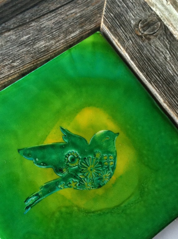 Hand-colored art tile Bird's Eye-  unique accent or backsplash tile - blue-green, green, yellow - gifts under 10