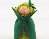 St. Patricks Day Felt Doll - Mini Four Leaf Clover Shamrock