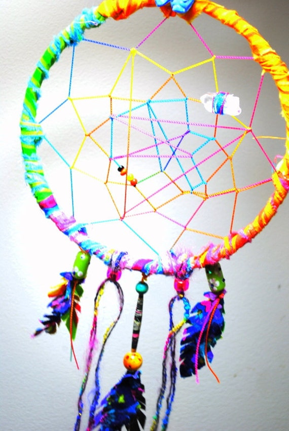 the ultimate gypsy abstract dream catcher rainbow deluxe complete with healing crystal