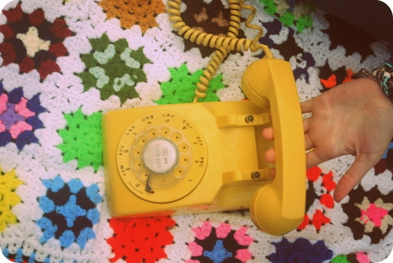 Yellow it's Me Again Vintage Telephone
