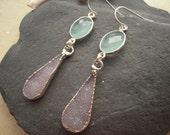 Beautiful Jasper Quartz Druzy & Blue Chalcedony Bezel Set Silver Earrings