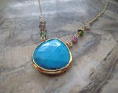 Beautiful Turquoise Vermeil Bezel Set & Tourmaline With 14K Gold filled Chain Necklace