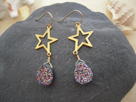 Sparkle Titanium Druzy Peacock & Star Earrings